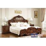 Кровать двуспальная Верона 160х200см с эко кожей орех Акорд