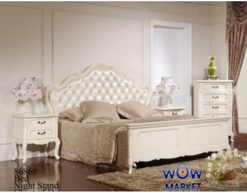 Кровать двуспальная Эпока 8686 (белая с патиной) 180х200см Акорд