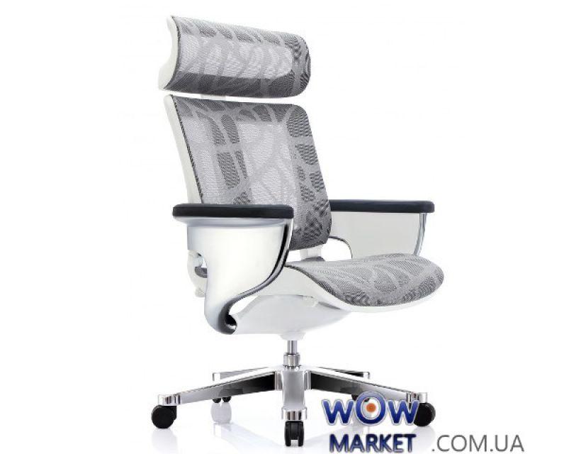 Эргономичное компьютерное кресло Nuvem Silver Mesh, серо-белая сетка C.S. Group