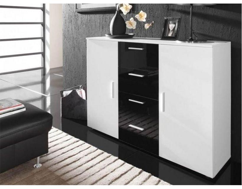 Комод UNI Cama 132 Білий Мат / Білий і Чорний Глянець