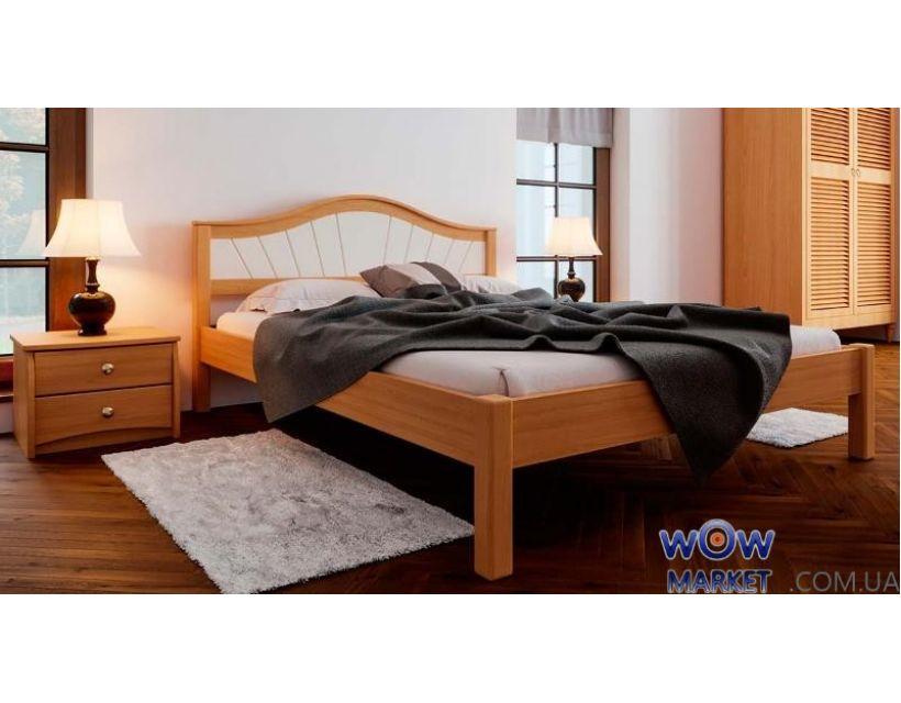 Ліжко двоспальне Італія М з м'яким узголів'ям 180х200 (190) см ДревКомбінат