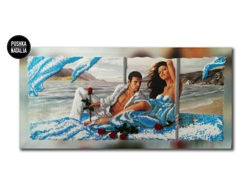 Картина вишита бісером Побачення на березі від Пушки Наталії