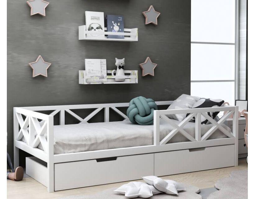 Детская деревянная кровать Микки с ящиками