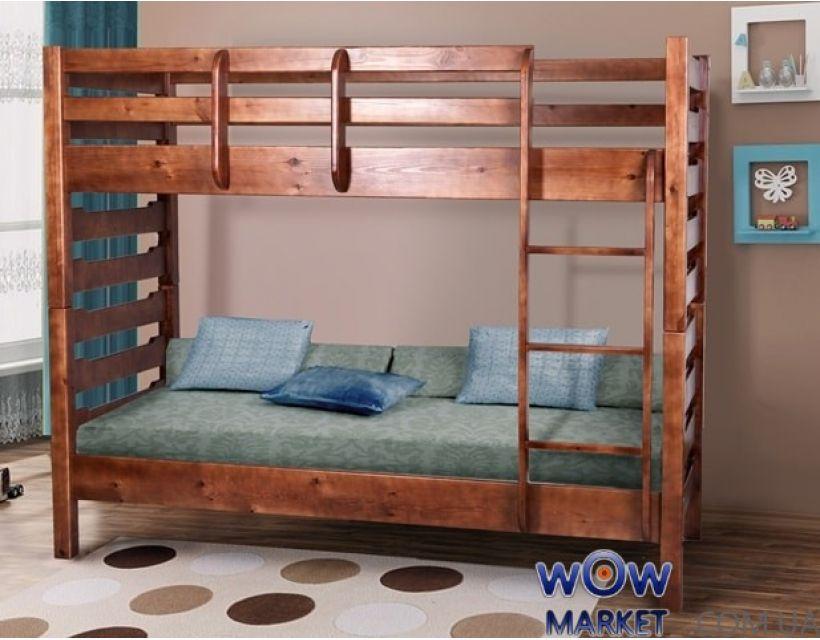 Ліжко двоярусне Троя (Сосна) 80х200см горіх темний Мікс Меблі Уют
