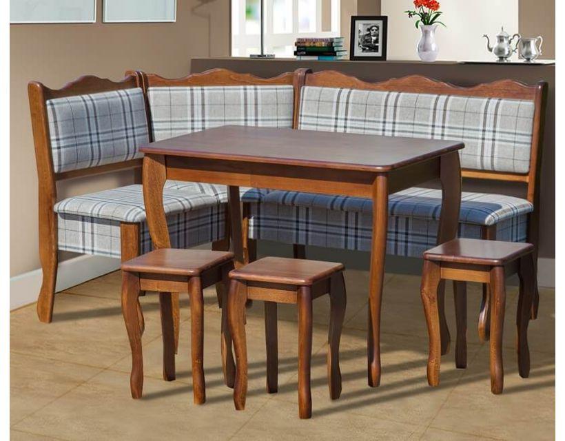 Комплект кухонний куточок Шотландія 155 * 110см бук 7 і Г, стіл і 3 табурета Мікс Меблі