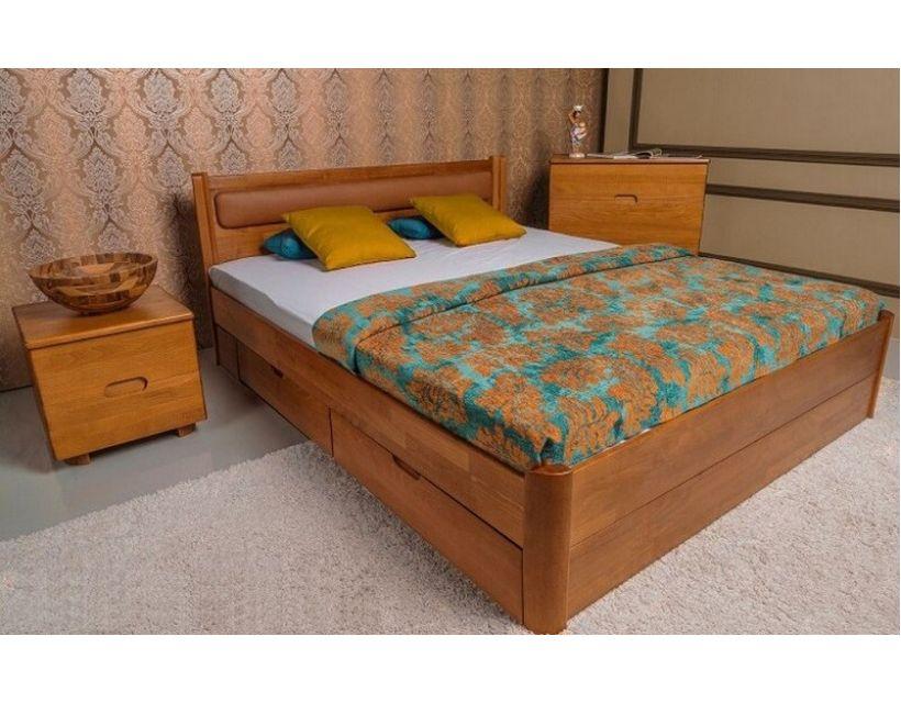 Кровать деревянная Олимп мягкая Марго с ящиками