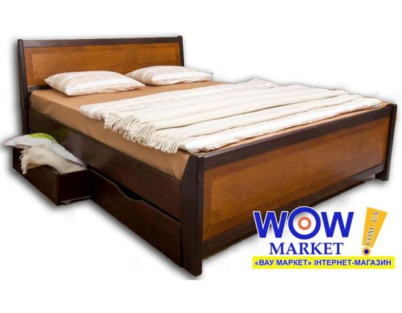 Кровать двуспальная 200 * 200 см Олимп Сити с интарсией и ящиками