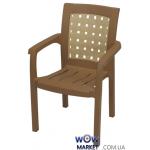 Крісло пластикове Хризантема СТ011 бежеве з кремовою вставкою 1543