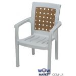 Крісло пластикове Хризантема СТ011 біле з бежевою вставкою 1544
