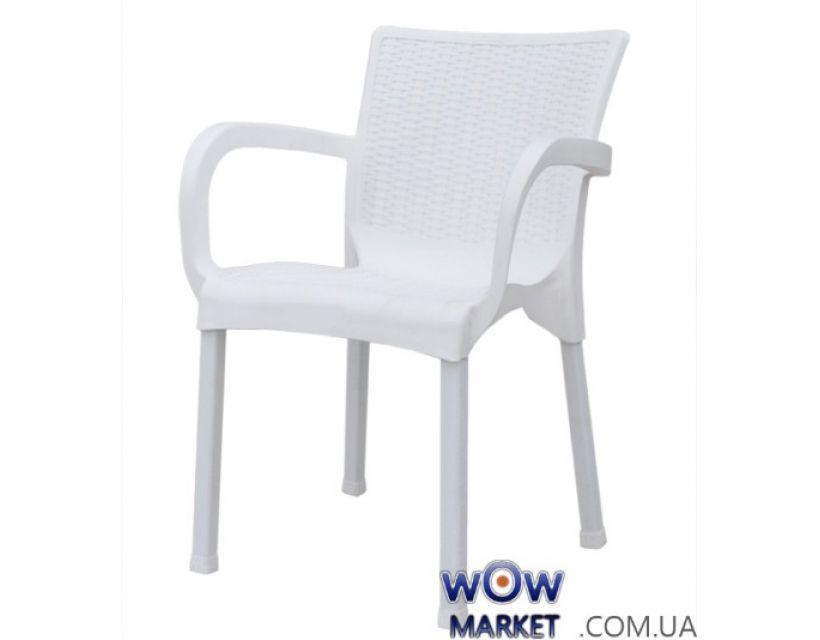 Крісло пластикове Орхідея під ротанг СТ014 біле 1952