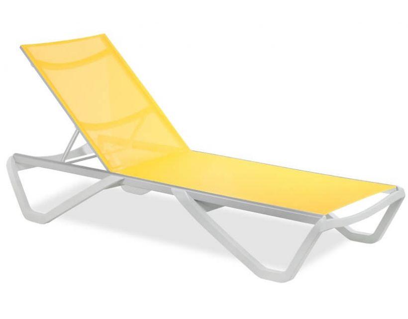 Шезлонг пляжний Wave (Вейв) білий 01, сітка жовта 5017