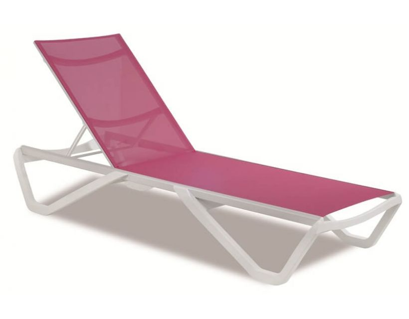 Шезлонг пляжний Wave (Вейв) білий 01, сітка темно-рожева 5336
