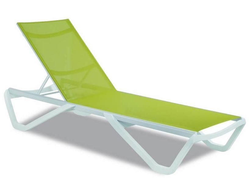 Шезлонг пляжний Wave (Вейв) білий 01, сітка світло-зелена 5367