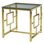 Стол журнальный CL-2 прозрачный, золото