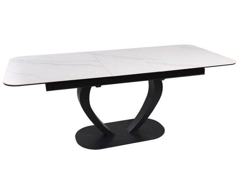 Большой раскладной стол TML-815 белый мрамор, керамика 160 (+40) * 89,5 * 76 см