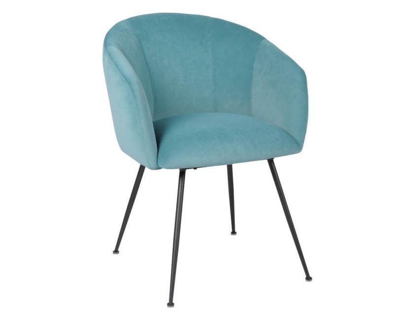 Дизайнерский мягкий стул M-60 голубой топаз матовый вельвет