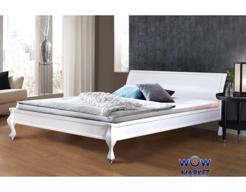 Ліжко двоспальне біле Ніколь (Сосна) 160х200см Мікс Меблі Уют